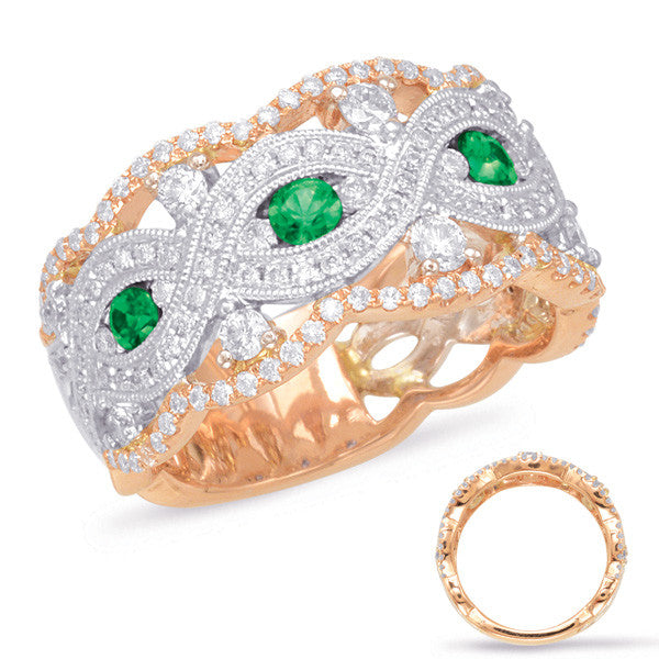 Rose & White Gold Emerald & Diamond Ring