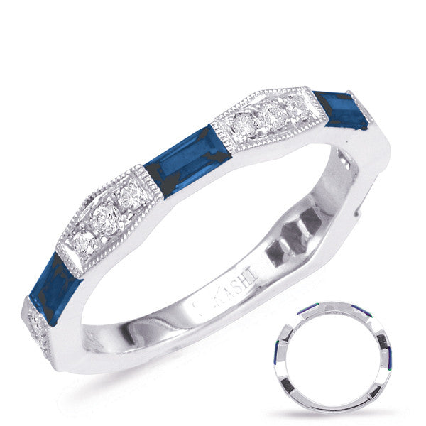 Sapphire Baguette & Diamond White Gold Band Ring  # C5801-SWG - Zhaveri Jewelers