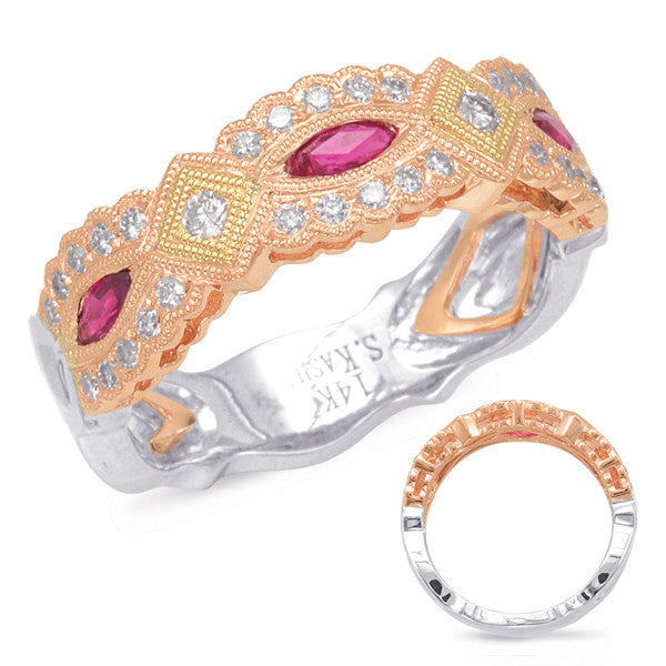 Rose Yellow White Ruby & Diamond Ring