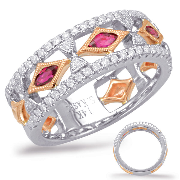 Rose & White Gold Two Tone Ruby & Diamond Band Ring  # C5811-RRW - Zhaveri Jewelers