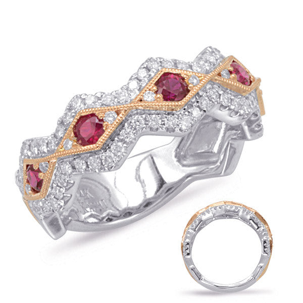 Rose & White Gold Two Tone Ruby & Diamond Band Ring  # C5815-RRW - Zhaveri Jewelers
