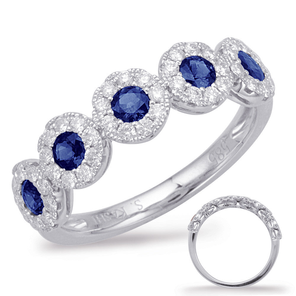 White Gold Sapphire & Diamond Ring  # C5816-SWG - Zhaveri Jewelers