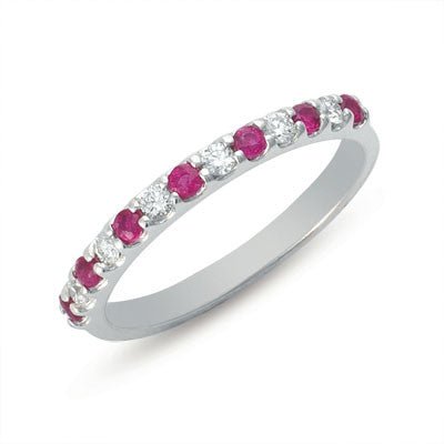 Ruby & Diamond Narrow Band Ring  # C6593-RWG - Zhaveri Jewelers