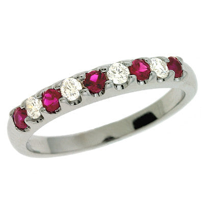 Ruby & Dia White Gold Band  # C6637-RWG - Zhaveri Jewelers