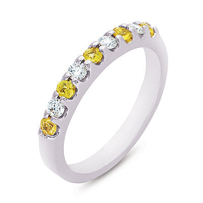 Yellow Sapphire & Diamond Band  # C6637-YSWG - Zhaveri Jewelers