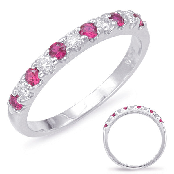 Ruby & Diamond Narrow Band Ring  # C6708-RWG - Zhaveri Jewelers