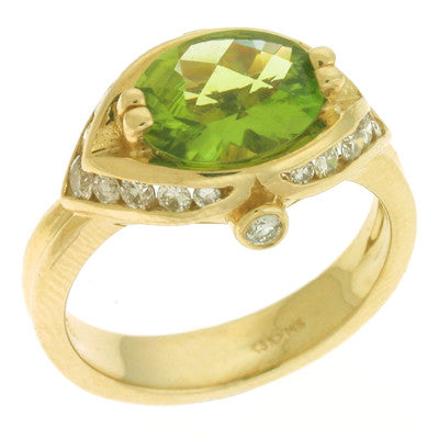 Peridot & Diamond Ring  # CX5600-P - Zhaveri Jewelers