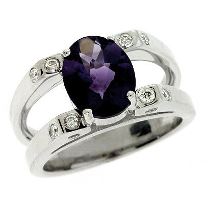 Amethyst./diamond Ring