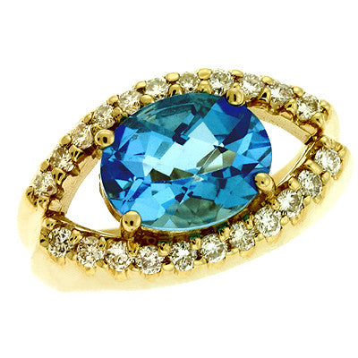 Blue Topaz./ Diamond Ring