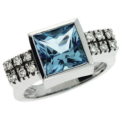Blue Topaz & Diamoind Ring  # CX5679-BTW - Zhaveri Jewelers