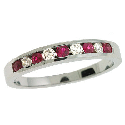 Ruby & Diamond Channel Set Band Ring  # C 332-RWG - Zhaveri Jewelers