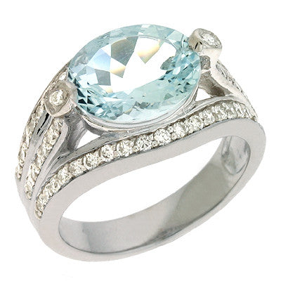 Aquamarine & Diamond Ring  # C 610-AQWG - Zhaveri Jewelers