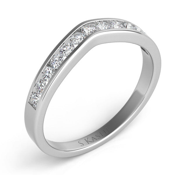 Curved White Gold Band  # D3060WG - Zhaveri Jewelers