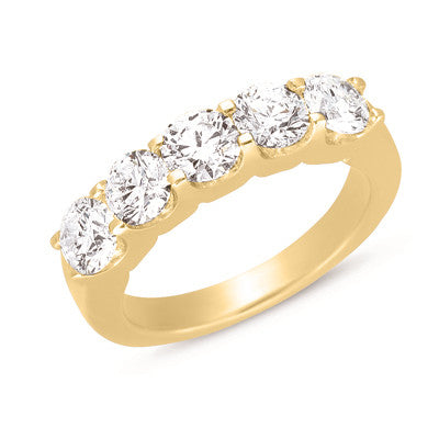 Diamond Ring Five Stone Band  # D3178YG - Zhaveri Jewelers