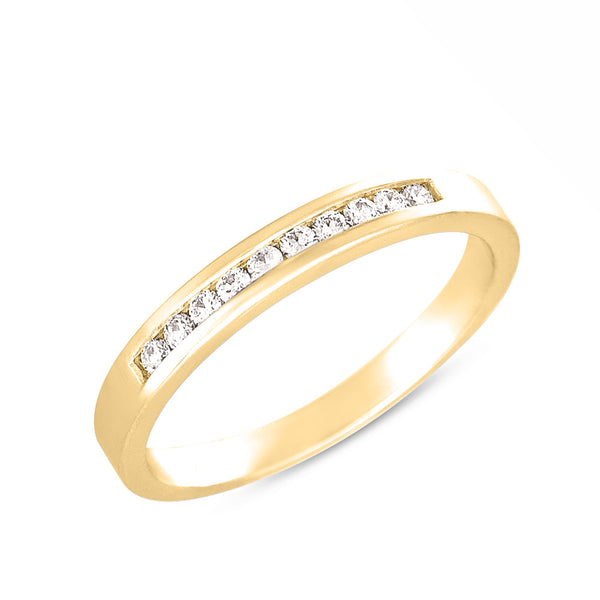 Diamond Channel Set Band  # D3277YG - Zhaveri Jewelers