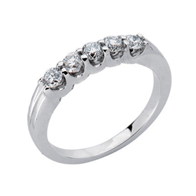 Platinum Five Stone Band  # D3554-PL - Zhaveri Jewelers