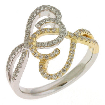 Two Tone Diamond Pave Ring