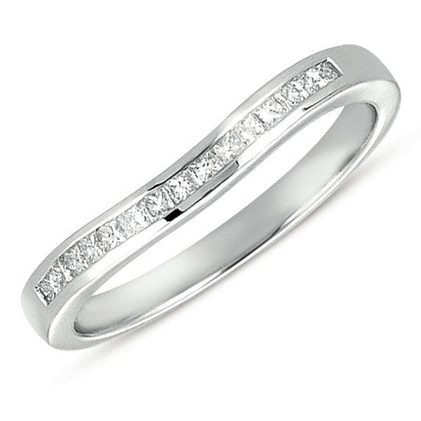 Curved White Gold Princess Band
