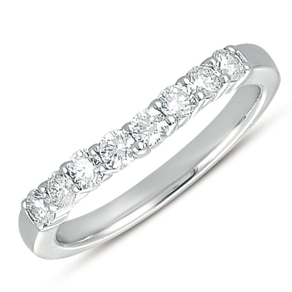 Curved White Gold Diamond Band