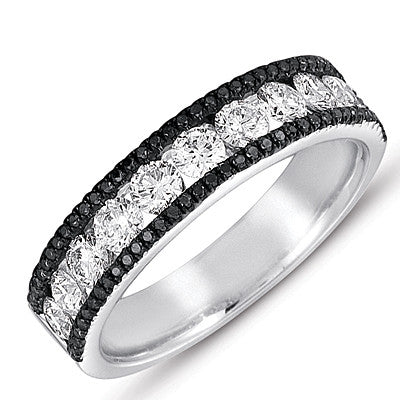 White Gold Black & White Diamond Band