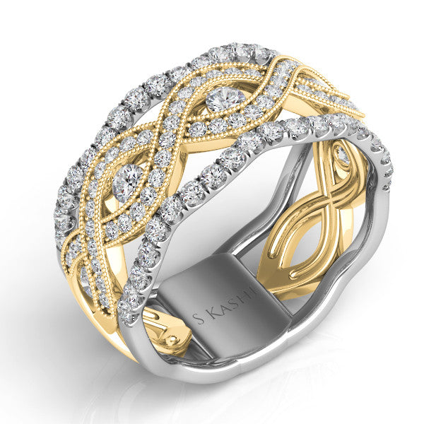 White & Yellow Gold Pave Band