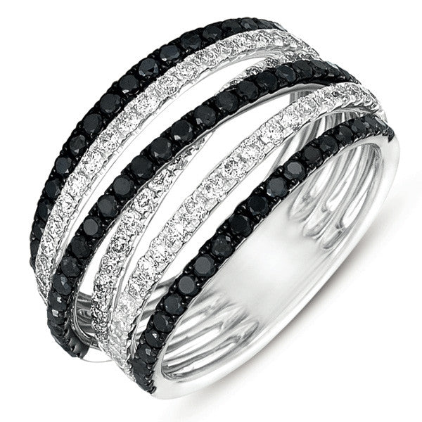 White Gold Black & White Fashion Ring