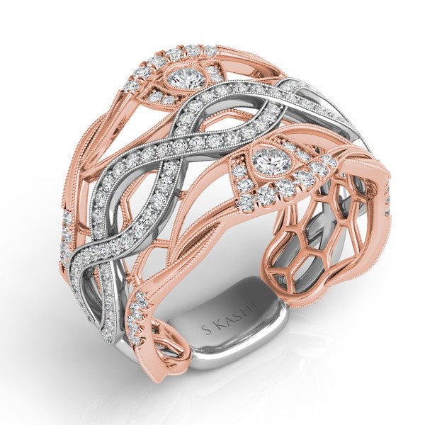 White & Rose Gold Pave Band