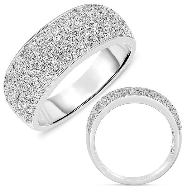 White Gold Pave Band 7.5mm wide