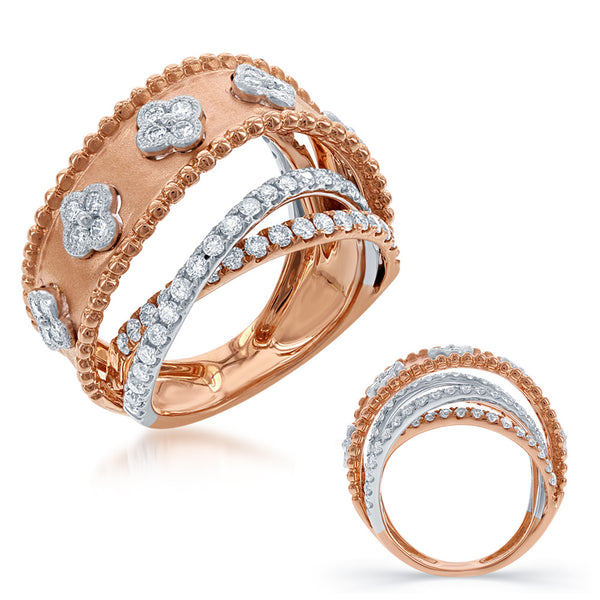 White & Rose Gold Pave Ring
