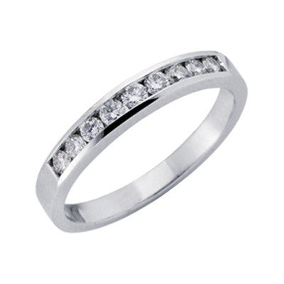 Channel Set White Gold Band  # D 332WG - Zhaveri Jewelers