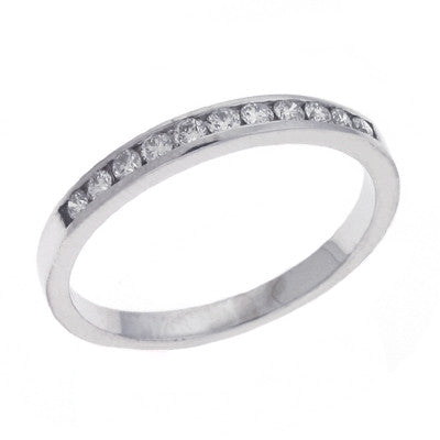 Channel Set White Gold Band  # D 337WG - Zhaveri Jewelers
