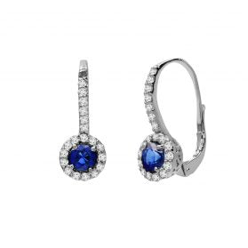 14K Sapphire & Diamond Earrings #1163-E1053W-S