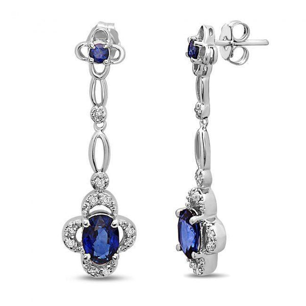 14K Sapphire & Diamonds Earrings. #1163-E1172W-S