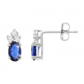 14K Sapphire & Diamond Earrings. #1163-E1198W-S