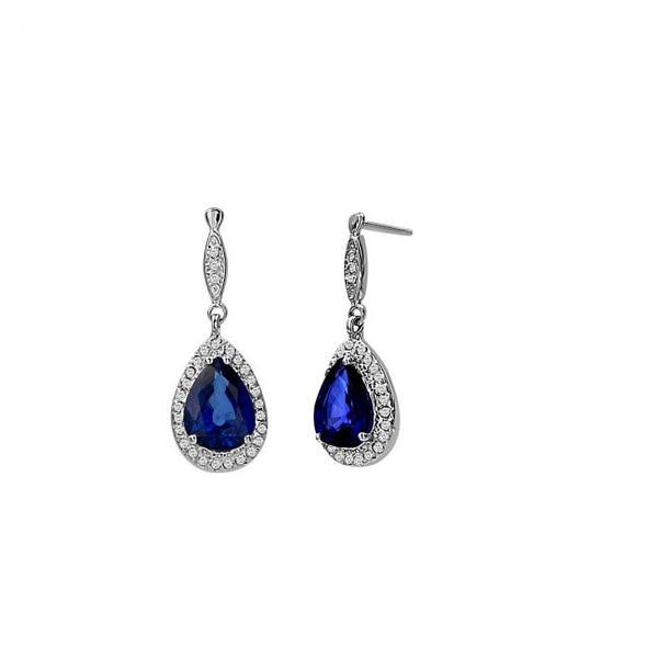 14K Sapphire & Diamond Earrings. #1163-E1298W-S