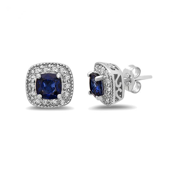 14K Sapphire & Diamond Earrings. #1163-E1316W-S