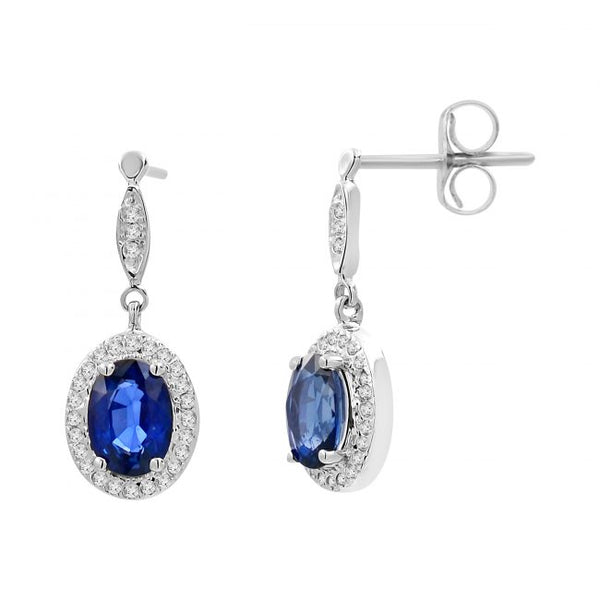 14K Sapphire & Diamond Earrings. #1163-E1324W-S