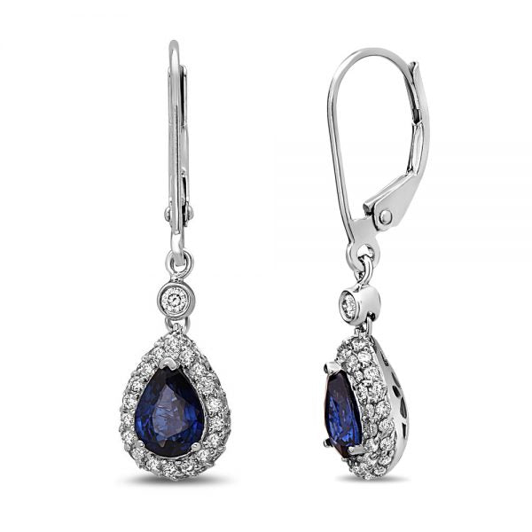 14k Sapphire & Diamond Earrings. #1163-E1384W-S