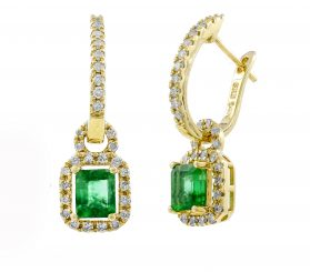 14K Emerald & Diamond Earrings. #1163-E1447YZ-E