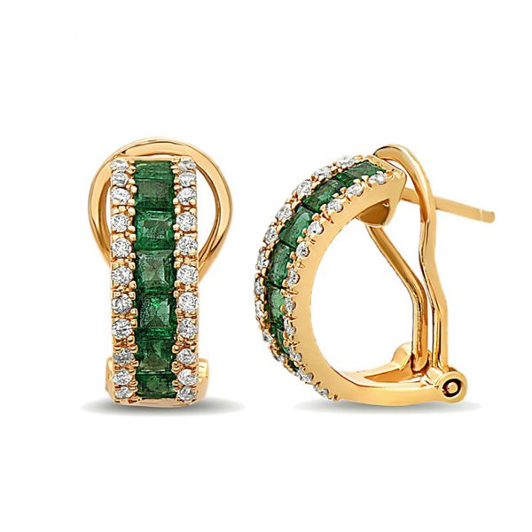 14k Emerald & Diamond Earrings.#1163-E1496Y-E