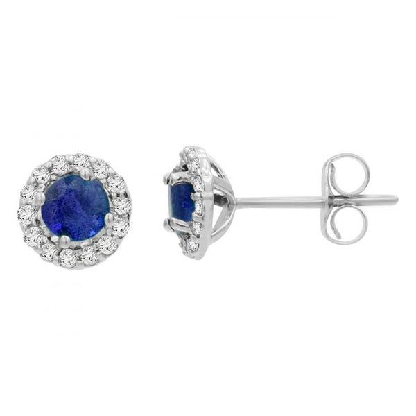 14k Sapphire & Diamond Earrings. #1163-E1533W-S