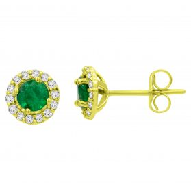 14K Emerald & Diamond Earrings. #1163-E1533Y-E