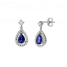 14k Sapphire & Diamond Earrings. #1163-E1537W-S