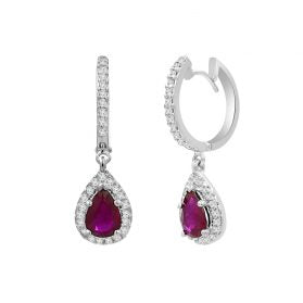 14K Ruby & Diamond Earrings. #1163-E1632W-R