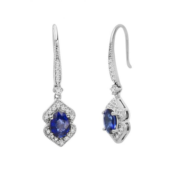 14K Sapphire and Diamond Earrings. #1163-E1636W-S