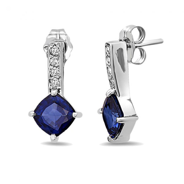 14K Sapphire & Diamond Earrings. #1163-E1676W-S