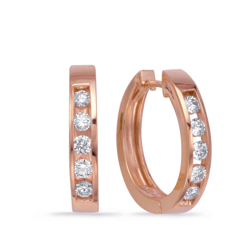 14K Rose Gold Diamond Earrings. #1090-E7351RG