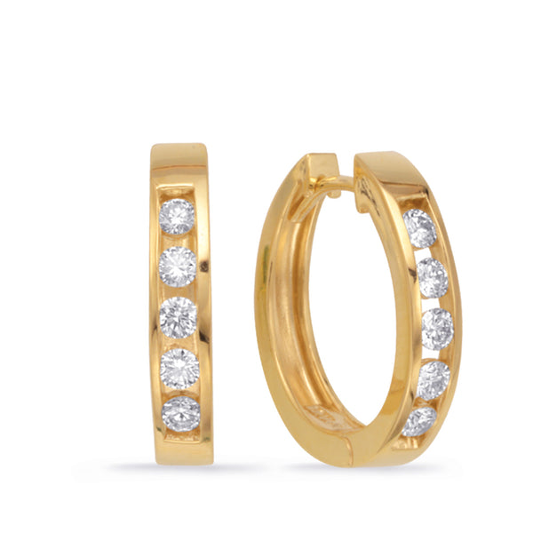 14K Yellow GoldDiamond Earrings. #1090-E7351YG