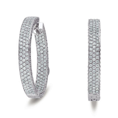 30mm Hoop Earrings  White Gold