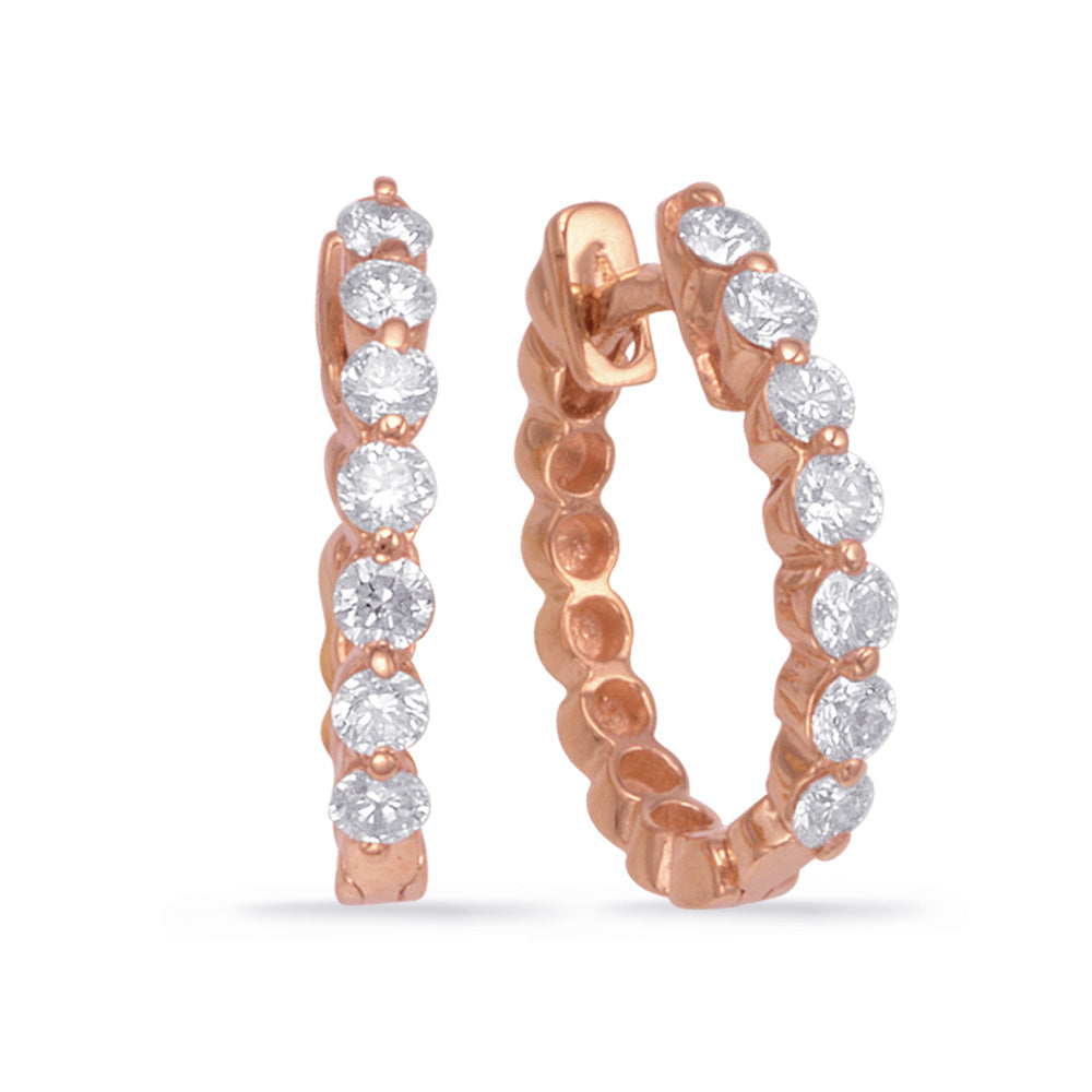 14K Rose Gold Diamond Earrings. #1090-E7665RG